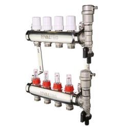 """Коллекторный блок Valtec из нержавеющей стали со встроенными расходомерами и термостатическими клапанами 1"""", 10 x 3/4"""""""