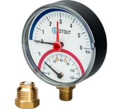 """Термоманометр STOUT аксиальный, корпус Dn 80 мм 1/2"""" (с авт. запорным клапаном) 6 бар"""
